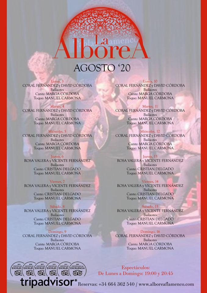 programacion de artistas flamencos para espectáculos de flamenco en Granada agosto 2020