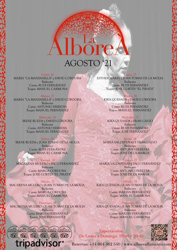 agenda flamenca Granada en Agosto de 2021